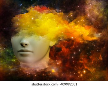 Girls of Never series. Design composed of human profile and fractal forms as a metaphor on the subject of inner reality, mental health, imagination, thinking and dreaming
