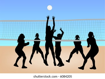 girls play volleyball on sand illustration