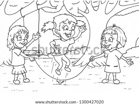 Girls Playing Jump Rope Coloring Page Stockillustration ...