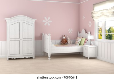 Girl's room in pink walls with white bed and wardrobe