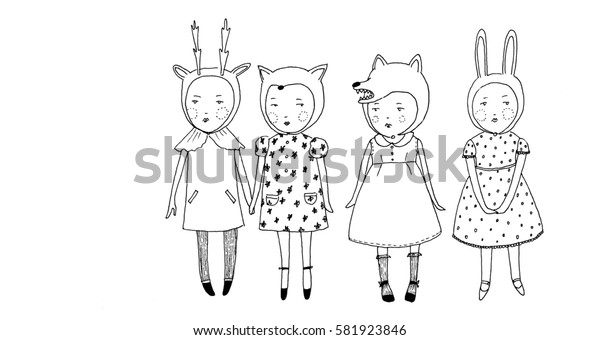 Girls in a row. Small cute girls in the animal hats are standing together in a row