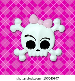 Girly Skullz: emo skull and crossbones with a pink bow on a pink argyle background.  Seamless tile.