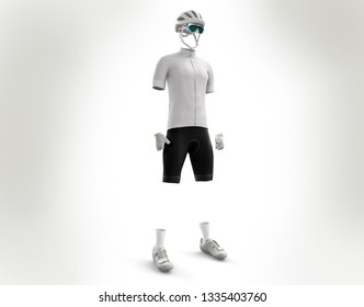 Giro d'Italia 2019, clothing in 3d illustration, cyclist clothing model in 3d rendering. Jersey in 3d illustration. Mockup. White shirt, used for cyclists under 26 years.
