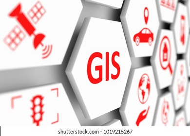 GIS concep cell blurred background 3d illustration