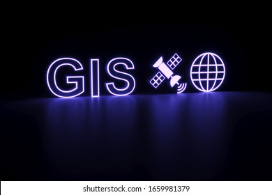GIS neon concept self illumination background 3D illustration