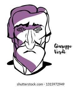 Giuseppe Verdi engraved portrait with ink contours. Italian opera composer.