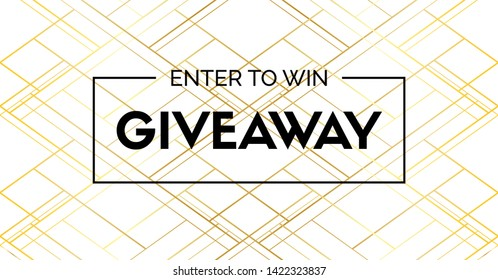 Giveaway luxury banner. Enter to win. Golden hatch pattern premium background. Raster version