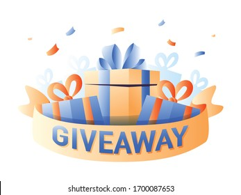 Giveaway for promo in social network, advertizing of giving present, like or repost isolated icon. Business account, gift box, winner. Social media post, surprise package, subscribers reward