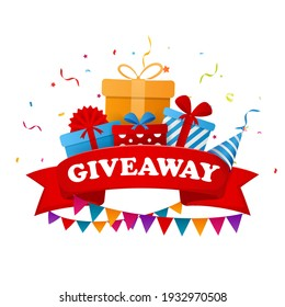 Giveaway text above with confetti explosion inside on colorful background