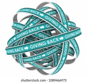 Giving Back Cycle Sharing Good Deeds Work 3d Render Illustration