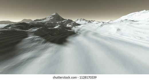Glacial deposits of CO2 dry ice in Mars polar valley - 3D Illustration