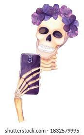 Glamour skeleton making selfie. Cute halloween watercolor illustration. Skull clipart