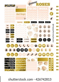 glamour summer royal roses printable planner stickers, letter size