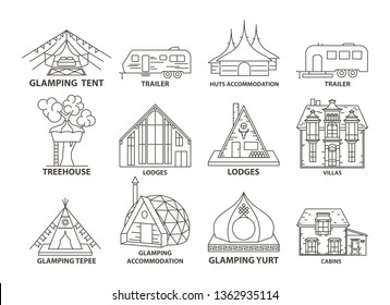 Glamping accomodation line icon set with native indian tepee and treehouse, villa and yurt, lodges and huts. Flat line style glamping travel collection.  illustration.