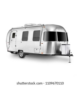 Glamping Travel Trailer Isolated on White Background. Camping and Traveling Towed Recreational Vehicle. Side View of Stainless Steel Motorhome. Modern Caravan Car. Holiday Trip. 3D Rendering