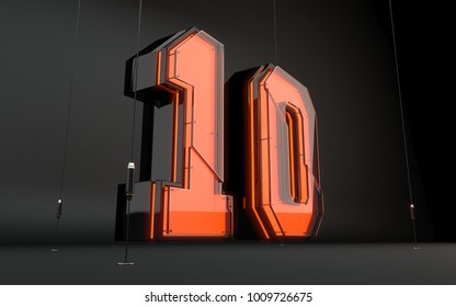 Glass 3d number on black background.