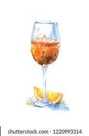 Glass of a aperol and orange.Picture of a alcoholic drink.Watercolor hand drawn illustration.White background.