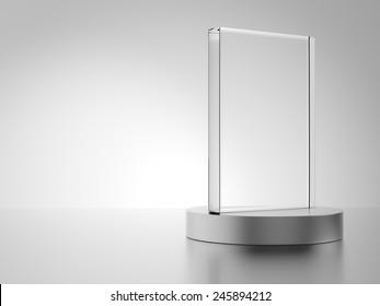 Glass award isolated on white background