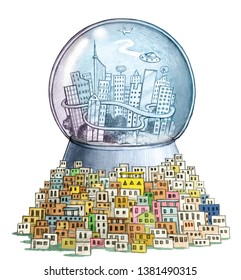 in a glass ball there is a smart city while outside there is a large slum allegory of gap between rich and poor