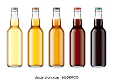 Glass beer bottles mockup. 3d rendering