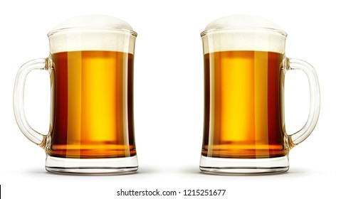 glass beer cup isolated on a white. 3d illustration
