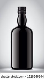 Glass black bottle on gray background. 3d rendering
