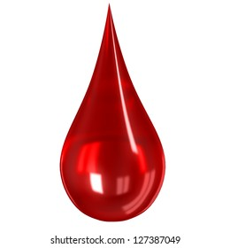 Glass blood drop isolated on white