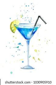 Glass of a Blue Lagoon  cocktail and splash.Martini, liquor and vodka Ingredients .Picture of a alcoholic drink.Watercolor hand drawn illustration.White background.