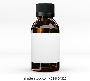 Glass bottle. 3D rendering. Isolated object. Mocup. Vaccine