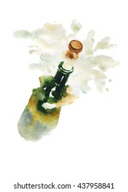 glass bottle of champagne alcohol