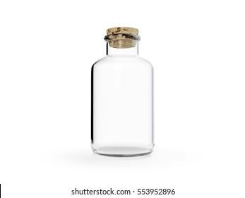 Glass bottle with cork on white background. 3D illustration