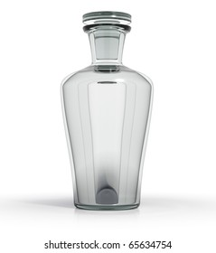 Glass bottle filled with transparent liquid. Blank for label. 3d