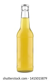 Glass bottle Long Neck with a lemon juice liquid. 12oz (11 oz) or 355 ml (330 ml) volume. Isolated 3D render on a white.