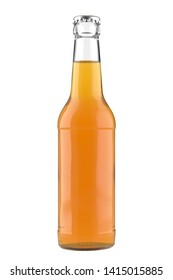 Glass bottle Long Neck with a orange juice liquid. 12oz (11 oz) or 355 ml (330 ml) volume. Isolated 3D render on a white.