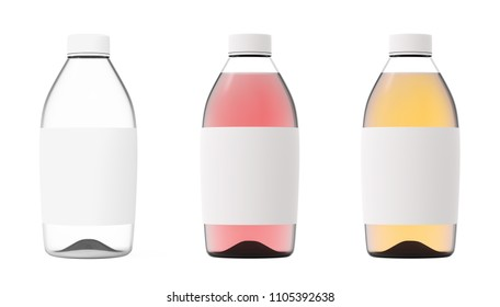 Glass bottle set isolated on white background. Realistic 3d render collection. Transparent liquid container color mockup. Blank label item for pack advertising. Visualization of a polygonal model.