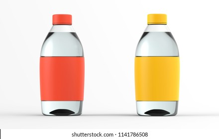 Glass bottle set with water isolated on white background. Realistic 3d render collection. Transparent liquid container color mockup. Blank label item for pack advertising. Visualization of a product.