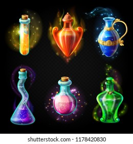Glass bottles with a magical potion, sealed jars of different shape with sparkling multi-colored elixir, isolated on a black background. game icons, elements for game design