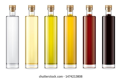 Glass bottles mockup for oil and sauces. 3d rendering