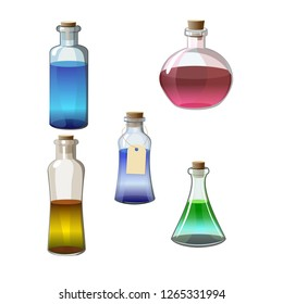 glass bottles of potion