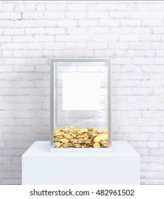Glass box with blank label and golden coins on white brick background. Charity concept, Mock up, 3D Rendering