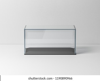 Glass box Mockup with black podium for product presentation or scale car model, 3d rendering