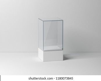 Glass box Mockup with white podium for product presentation, 3d rendering