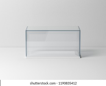 Glass box Mockup with white podium for product presentation or scale car model, 3d rendering