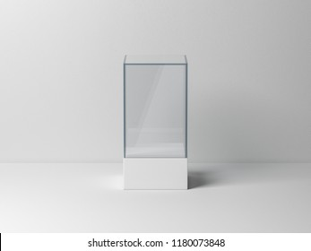 Glass box package Mockup for product presentation, 3d rendering