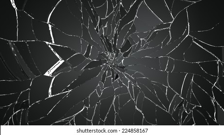 Glass breaking pieces isolated on white. Large resolution