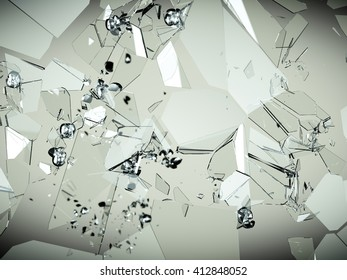 glass breaking and shatter with high resolution