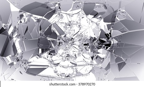Glass breaking and shatter on white.