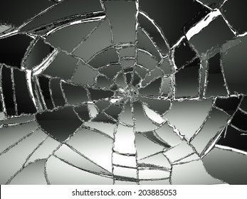 Glass Broken or Shattered on white. Large resolution