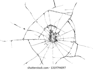 glass broken vandalism bullet cracks impact illustration