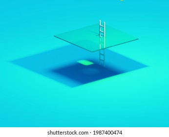Glass ceiling concept in flat style on light background. Workplace concept. Success concept. White background. Wall art. Office interior.